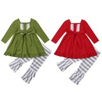 Wholesale chinese branded baby clothes resale online - 2018 Multitrust Brand Kids Baby Girls Xmas Outfits Clothes Long Sleeve Green Red Tops Dress Striped Pants Set Ruffle Autumn Set