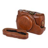 capa de câmera de couro sony venda por atacado-Alta qualidade PU Leather Camera Bag Caso Fullbody Capa com alça de pescoço ajustável para Sony RX100M2 / RX100M3 / RX100M4 / RX100M5 Câmeras