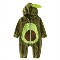 Wholesale suits for kids resale online - Baby Avocado Hooded Rompers Winter Warm Flannel Climbing Suit Outerwear newborn Jumpsuit Toddlers Bodysuit for Kids Clothings M958
