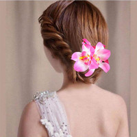 ingrosso capelli di nozze del fiore dell'orchidea-Flower Hairgrips Wedding Accessories Corsage Wedding Orchid Flower Hair Clip Forcine per capelli Ornamenti per capelli Clip per donna