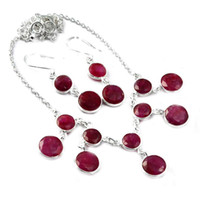 rubine halsketten-sets großhandel-Natur-Rubin-Halskette, 925 Sterling Silber, 42,5 cm, 2SN0004