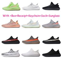 ingrosso scarpe da corsa incandescente-Kanye West 2019 GID Glow in Dark Clay True Form Hyperspace Uomo Scarpe da corsa riflettenti Sneakers sportive da donna