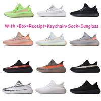 zapatos para correr que brillan intensamente al por mayor-V2 Kanye West 2019 GID Resplandor en arcilla oscura Forma verdadera Hiperespacio Hombres Zapatillas reflectantes para hombre Zapatillas de deporte deportivas de diseñador