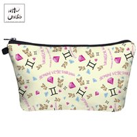 собаки косметические оптовых-Who Cares Cute Cartoon dogs and diamonds 3D Printing Makeup Bags with Zipper Ladies Pouch Women Cosmetic Bag
