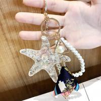 ingrosso doni amanti della stella di mare-Portachiavi Starfish Novità Cartoon Sea World Starfish Pearl Shell Portachiavi Ciondolo cristallo Portachiavi Coppia Portachiavi Regalo donna