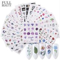 atların çıkartması toptan satış-144 adet / grup Suluboya Çiçek Çiçek Sticker Tırnak Çıkartmaları Set Flamingo Deniz Atı Tasarımları Jel Manikür Dekor Su Kaymak CHSTZ683-706