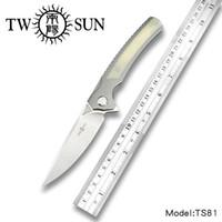kahverengileşen 338 av bıçağı toptan satış-Twosun d2 blade katlanır Pocket Knife taktik bıçaklar avcılık bıçak survival aracı EDC TC4 Titanyum Rulman Hızlı Açık TS81
