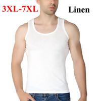 ingrosso maglia bianca di tela-6XL 7XL Large Size Cotton Linen Sottile Maglietta maschile Solid White Black Grey Biancheria intima da uomo O Neck Slim Fit Large Size Uomo Vest