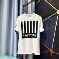 chemise rayée noire blanche achat en gros de-19ss T-shirt luxueux d'été T-shirt à manches courtes imprimé zdl 89