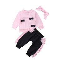 Wholesale hair strap baby for sale - Group buy Kids Designer Brand Suits Girls Baby Long Sleeve Round Neck Lace Bow Tops Trousers Hair Strap Set