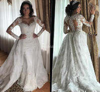 Wholesale luxury trumpet wedding dresses resale online - 2020 Luxury Wedding Dresses Mermaid Sweetheart Lace Applique Beaded Bridal Gowns With Overskirts Long Sleeve Wedding Gowns
