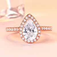 Wholesale platinum sets plated cz jewelry for sale - Group buy Luxury Rose Gold Ring Real High end CZ Diamond Gemstone Ring Sterling Silver Platinum Plated Ring Bridal Jewelry Earrings