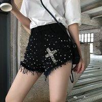 heiße schwarze mädchen jeans großhandel-2019 neue Sommer Frauen Hohe Taille Graben Hot Pants Retro Rivet Jeans Shorts Student Girls Casual Schwarz Denim Shorts
