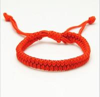 bracelete de corda vermelha venda por atacado-Encantos Boa Sorte Corda Vermelha do Destino Pulseiras de Corda Amizade Pulseira Moda Artesanal Cord Sorte Cabala Pulseira Jóias Presente