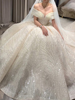 Wholesale new dream wedding dress resale online - Net Red Trill Wedding Princess New Luxury Was Thin Simple Shiny Dream Star Trailing Bridal Wedding Dress