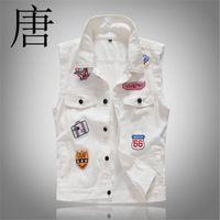 ingrosso mens denim gilet bianco-Tang cool 2019 Patch Bianco Masculino Mens monopetto uomo gilet jeans denim gilet