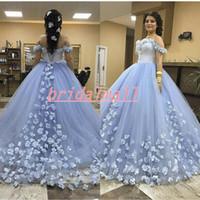vestido de novia luz azul hasta al por mayor-Vestidos de novia con apliques 3D-Floral azul claro Vestidos de novia Vestidos de novia con hombros descubiertos Encaje con espalda Vestido de novia árabe Vestidos de novia