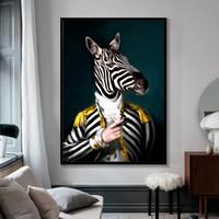 große schwarze weiße gemälde großhandel-Schwarz und Weiß Noble Lion Tiger Elefant Giraffe Art Wolf Pferd Wand-Kunst Gemälde auf Leinwand Tier trägt einen Hut-10 Große Malerei 191003