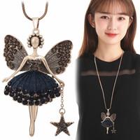 feen schmuck großhandel-Anweisung Neclaces Pullover Kette Anhänger Emaille Schmuck Maxi Neclace Legierung Emaille Dance Girl Fairy Angel Halskette