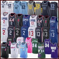 camisolas 12 13 venda por atacado-Kawhi NCAA Jersey LA Clippers 2 Leonard Paul 13 George 12 Ja Morant Milwaukee Camisas Bucks Ray 34 Allen Dwyane 3 Camisas De Venda Quente Wade
