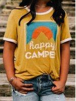 plage jaune courte achat en gros de-Happy Camp Summer Tshirts Femmes Casual Plage O-cou À Manches Courtes Jaune Vacances Tees Tops