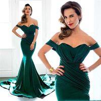 Wholesale navy ruffle prom dress resale online - Dark Green Sexy Mermaid Prom Dresses Off Shoulder Arabic Sweep Train Long Dresses Evening Wear Party Gowns Vestidos De Novia Custom Made