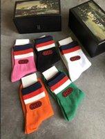 ingrosso calze yoga viola-Unisex5 Colore rosso verde Stripe Donna Calzini europei e americani G Style Calze di alta qualità Confezione regalo Calze di cotone per l'autunno inverno