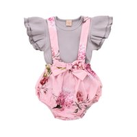 macacão rosa venda por atacado-Baby Girl Floral Vestido Infantil Voando Mangas Rosa Romper Geral Little Sister Babados Tops + Bib Shorts Bonito Set