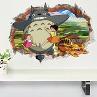 decalques de quarto de anime venda por atacado-Adesivos de parede Casa Decoração Da Parede Anime Totoro Adesivo para Quartos de Crianças Decoração do Quarto Dos Desenhos Animados Poster Mural Papel De Parede Decalques de Parede