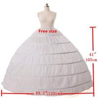 aros suaves venda por atacado-Branco 6 Hoops Anágua Crinolina Slip Underskirt Para O Vestido de Noiva Vestido De Noiva Petticoat