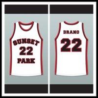 bom basquete homens camisas venda por atacado-Antwon Tanner Drano 22 Sunset Park Basquete Branco JerseyFamily homens jersey mulher jersey criança jerseys bom
