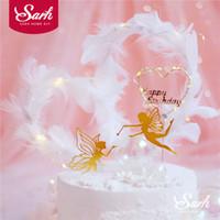 pastel de fiesta de hadas al por mayor-Fairy Elf Happy Birthday Cake Topper Flower Lace Pearl Mesh Angel Decoración para niños Kid Girl Party Supplies Regalos encantadores