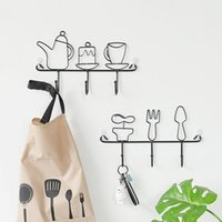 Wholesale metal clothes hanger holders resale online - 1pcs Hooks Clothes Rack Robe Key Holder Potted Kettle Hook Metal Hat Hanger Kitchen Bathroom Wall Home Decoration