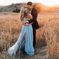 ingrosso beach wedding dresses-Abiti da sposa bohémien blu con scollo a V schiena senza spalline Abito da sposa estivo con spacco frontale Boho Abiti da sposa