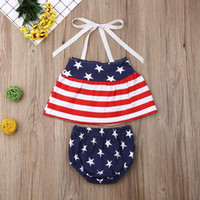 Wholesale baby wear star online - Independence Day Designer Baby Girls Star Stripe Suits for USA The Fourth of July Kids National Day Wear Kids Special Occasion Clothes