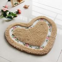 herzförmige matte großhandel-Landschaft Rose Little Love Teppiche Herzförmige Farbe Mix Schlafzimmer Tür Matte Wasseraufnahme Rutschfestigkeit Weiche Tür Wolldecke 24wq2D1