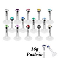Wholesale acrylic lip labret for sale - Group buy 14pcs Acrylic Bioplast Flexible CZ Gem Labret Lip Ring Stud Piercing Ear Tragus Stud Barbell Body Jewelry gauge