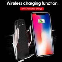 steckdose ladegerät großhandel-10 Watt Wireless Car Charger S8 Automatische Clamping Schnellladung Handyhalter Auto Air Outlet Handy Qi Wireless Charging