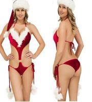 roter schlafanzug für frauen großhandel-Frauen-reizvolle gesetzte weibliche Unterwäsche-Weihnachtsrote einteilige Schriftsätze reizvolle Pyjamas