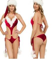 pijamas vermelhas femininas venda por atacado-Mulheres Sexy Set Feminino Underwear Natal Red One Piece Briefs Sexy Pijama