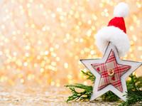botas de vinilo al por mayor-Navidad Boots amarillos Manchas de vinilo Fotografía Telones de fondo Sombrero de Navidad rojo Estrellas Fondos de fotomatón para niños Cumpleaños Accesorios de estudio