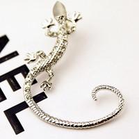 ohrring eidechse großhandel-Cip On Ohrringe Mode Strass Ohrringe Ohr Manschette, Luxus elegante Rose Gold übertrieben Gecko Eidechse Ohrstecker