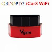 icar obdii elm327 venda por atacado-VGATE iCar3 Wifi ELM327 Wifi Código OBD2 Scanner Leitor Suporte OBDII Protocolo Veículo iCar 3 Digitalização Para / Android / PC ELM327