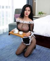 ingrosso vestiti delle cameriere nere-Vestiti sexy della domestica Lolita Maid Outfit Black Lace Hot Sexy Lady Tentazione uniforme costumi porno Adult Sex Games erotico