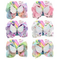 Wholesale angel hair resale online - JOJO Unicorn Hairpin Angel Wings Hairpin Baby Girls Hair Bows Floral Printed Barrettes Children Rainbow Hairclip Hair Accessories MMA2790