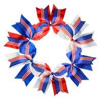 elastik şeritler toptan satış-Hairbands Amerikan Bayrağı Kırlangıç Bow Şerit Yıldız Elastik Saç Bandı Büyük Bow at kuyruğu Tutucu Moda Saç Aksesuarları 6 Tasarımlar YW3625