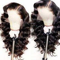 парики для тела оптовых-Естественно выглядящие мягкие 13 * 3 длинные объемные волны волосы черного цвета термостойкие синтетические парики фронта шнурка Glueless швейцарские парики шнурка для чернокожих женщин