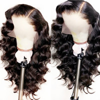 Wholesale body wave for long hair for sale - Group buy Natural Looking Soft Long Body Wave Hair Black Color Heat Resistant Synthetic Lace Front Wigs Glueless Swiss Lace Wigs for Black Women