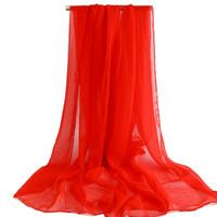 écharpe en soie solide en été achat en gros de-Été nouvelle plage serviette foulard wrap protection solaire en mousseline de soie châle simulation foulards en soie couleur unie rouge jaune bleu rose muffle tippet