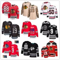 patrick kane jersey venda por atacado-Personalizado Chicago Blackhawks Jersey 9 Bobby Hull 88 camisola do hóquei Patrick Kane 19 Jonathan Toews 12 Debrincat 50 Crawford 64 Keith bandeira dos EUA